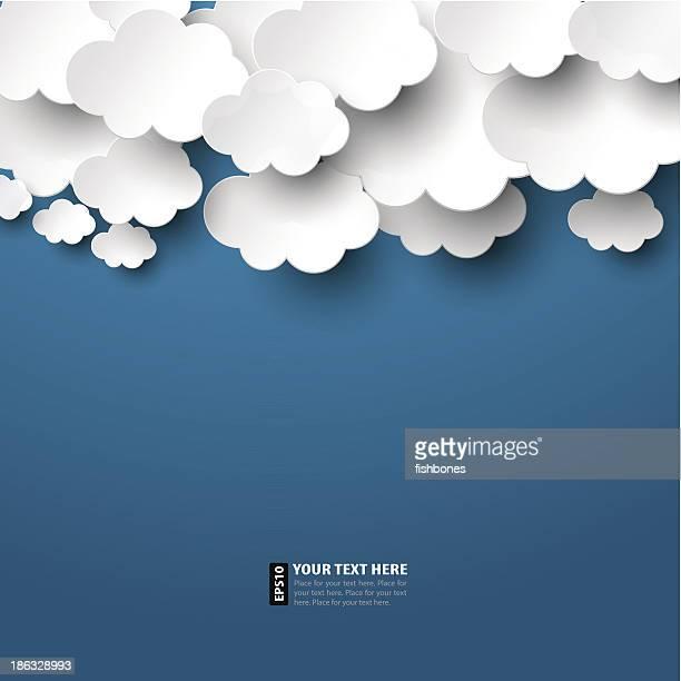ilustrações, clipart, desenhos animados e ícones de nuvens de papel - cloudscape