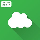 Paper clouds with long shadow. Ð¡artoon paper cloud illustration background. Air business concept.