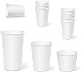 Paper coffee cups on a white background.