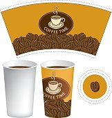 paper cup for hot drink with cup of coffee