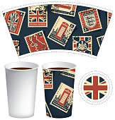 paper cup for hot drink with postage stamps