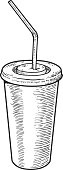 Paper cup illustration, drawing, engraving, ink, line art, vector