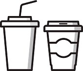 Paper cups for drinks. Fast food. Coffee and lemonade, cola.