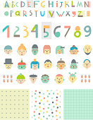 Paper cut alphabet and figures, different  faces, three seamless patterns.