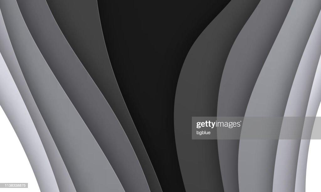 Papier Decoupe En Arriereplan Formes Donde Abstraite Noir Et Blancdesign 3d Tendance Illustration Getty Images