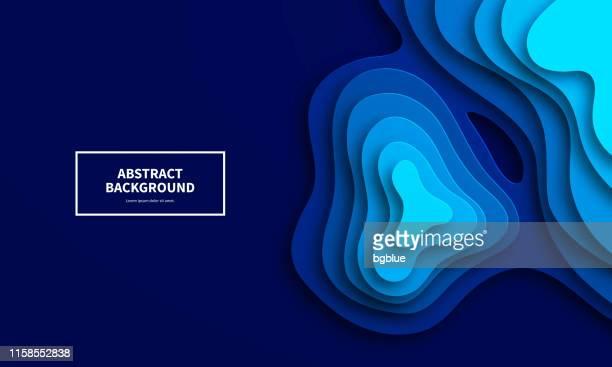 ilustrações, clipart, desenhos animados e ícones de fundo cortado papel. formas abstratas azuis da onda-projeto 3d na moda - elemento de desenho