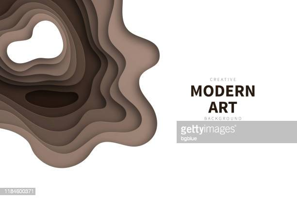 paper cut background - brown abstract wave shapes - trendy 3d design - brown background stock illustrations