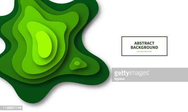 papierschnitt hintergrund. grüne abstrakte wellenformen-trendy 3d-design - geschichtet stock-grafiken, -clipart, -cartoons und -symbole