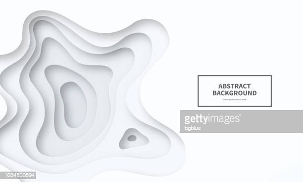 ilustrações de stock, clip art, desenhos animados e ícones de paper cut background. grey abstract wave shapes - trendy 3d design - efeito multicamada