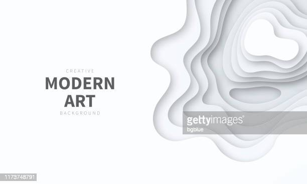 paper cut background. grey abstract wave shapes - trendy 3d design - paper craft stock illustrations