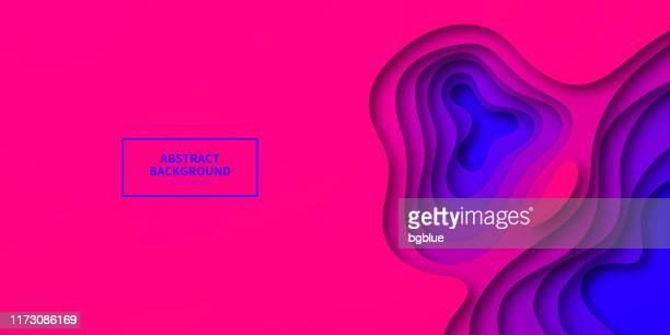 illustrazioni stock, clip art, cartoni animati e icone di tendenza di paper cut background - purple abstract wave shapes - trendy 3d design - alla moda