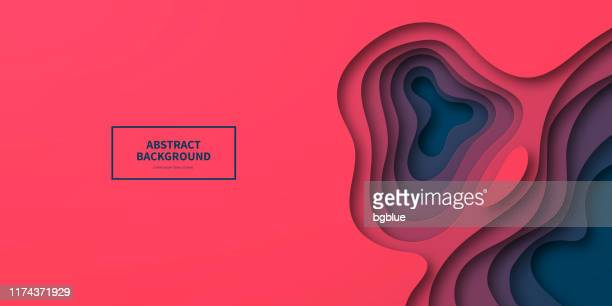 paper cut background - red abstract wave shapes - trendy 3d design - artistic product stock illustrations