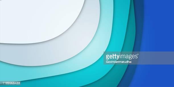 illustrazioni stock, clip art, cartoni animati e icone di tendenza di sfondo taglio carta. banner verticale con livelli di forme ondulate 3d. design della carta realistico astratto. arte dell'intaglio blu. layout di progettazione vettoriale per volantini, poster, inviti - stratificato