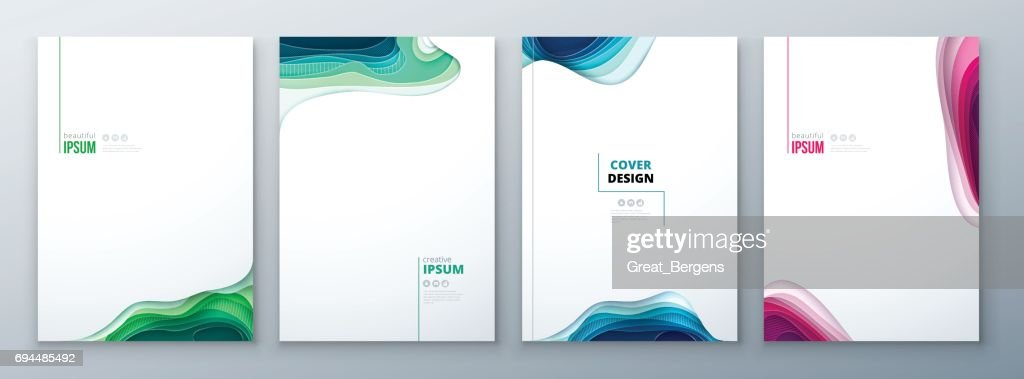 Paper cut brochure design paper carve abstract cover for brochure flyer magazine catalog design in green teal blue colors