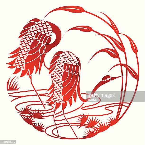 paper cut crane - crane bird stock illustrations