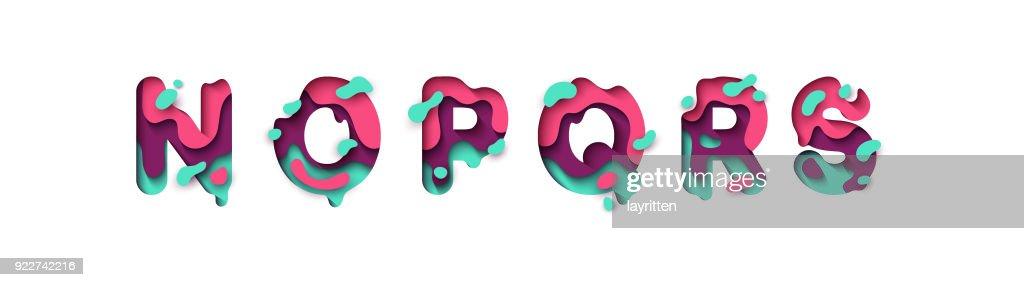 Paper cut letter N, O, P, Q, R, S.