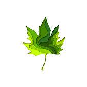 Paper cut maple leaf shape 3D design. Template of lettering for postcard, banner, poster, placard.  Colorful vector illustration.