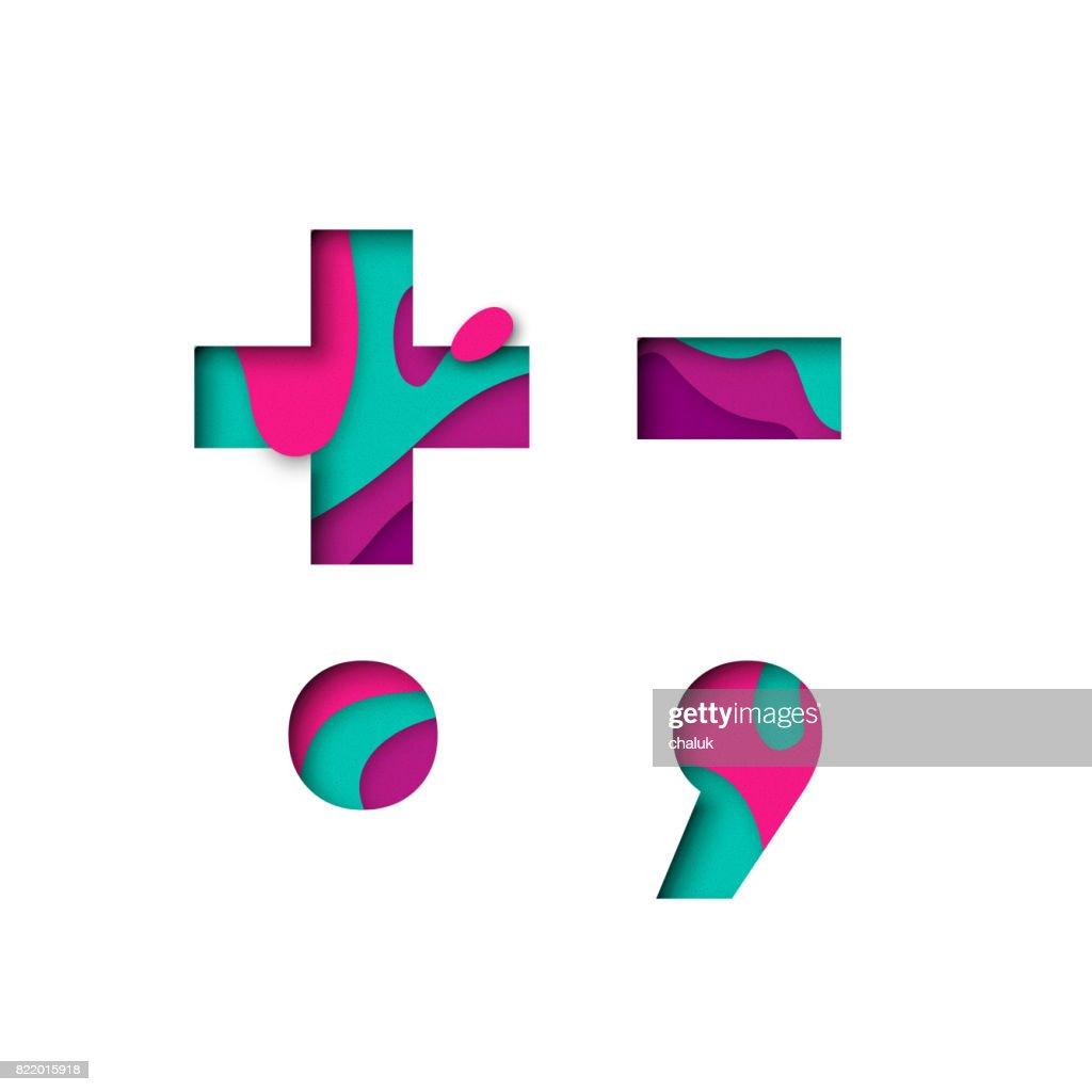 Paper cut punctuation symbol plu minus sign. Realistic 3D multi layers papercut