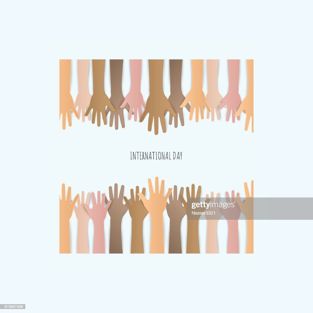 Paper cut Raised hands up together with different skin tone of many peoples concept of democracy