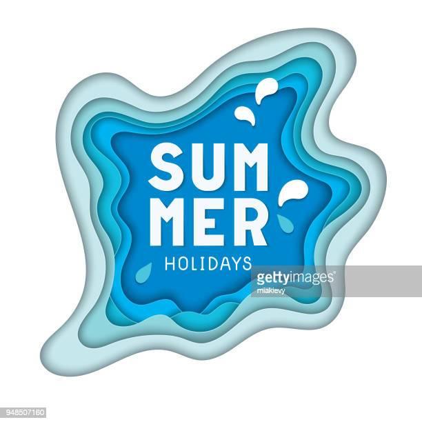 paper cut summer holidays - origami stock illustrations