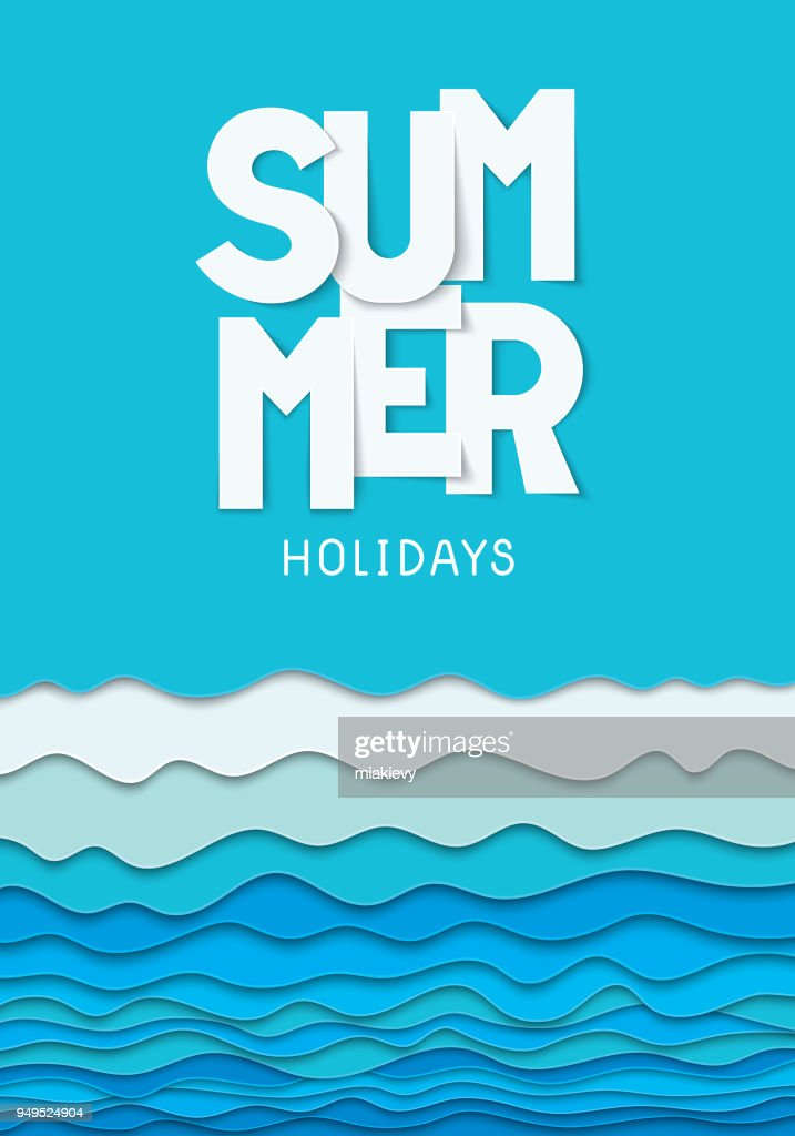 paper cut summer poster template vector art getty images