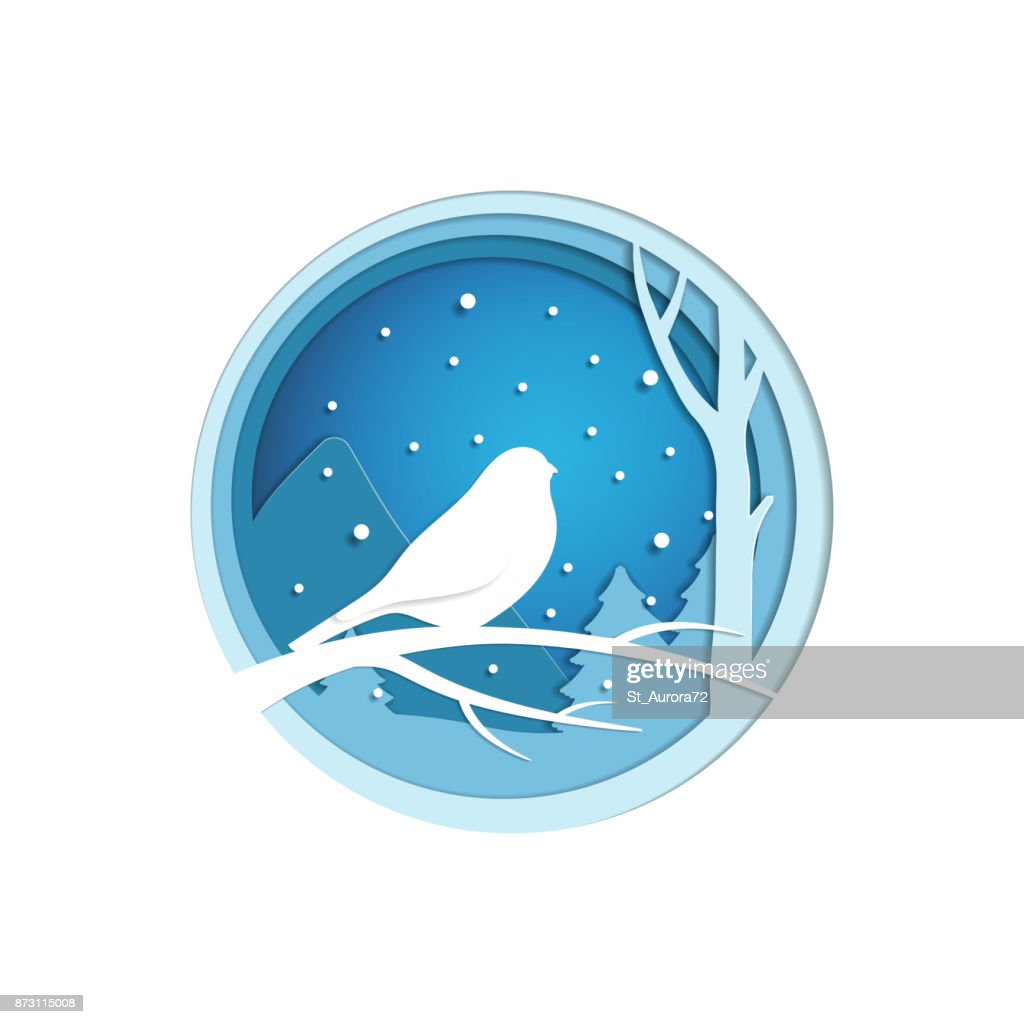 Paper cut winter landscape with bird sitting on a branch. Christmas origami concept.