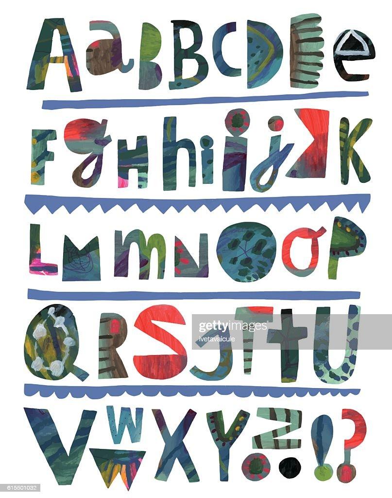 Paper cutout alphabet