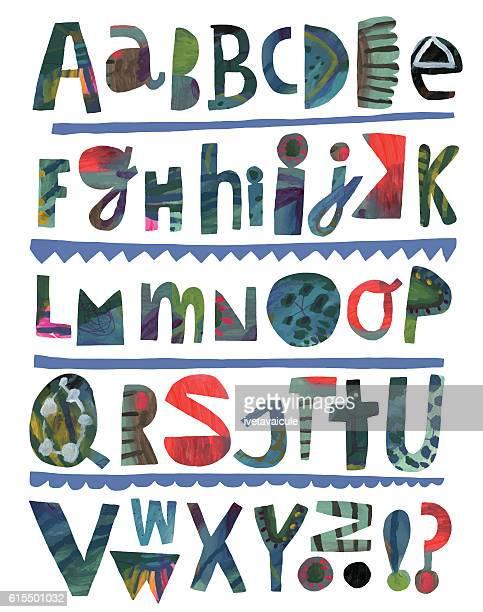 paper cutout alphabet - pejft 幅插畫檔、美工圖案、卡通及圖標