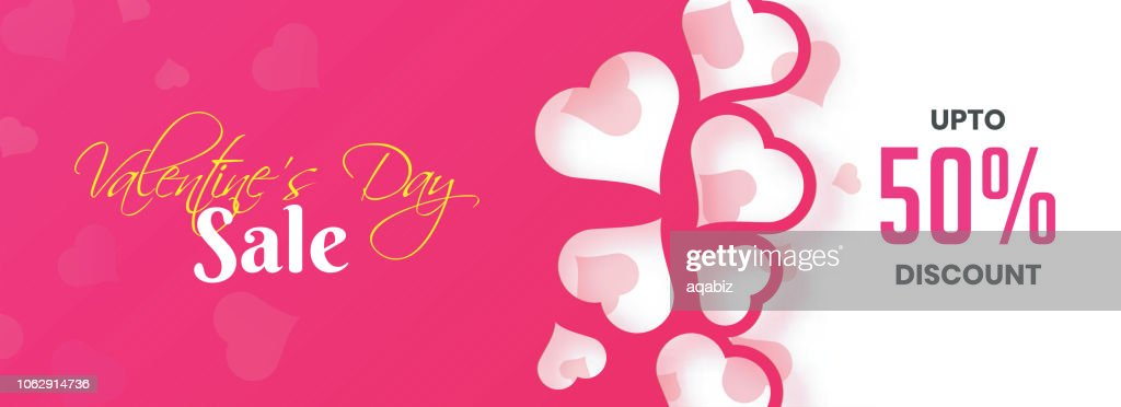 Paper cutout style heart decorated header or banner design with 50% discount offer for Valentins Day Sale advertisement concept.