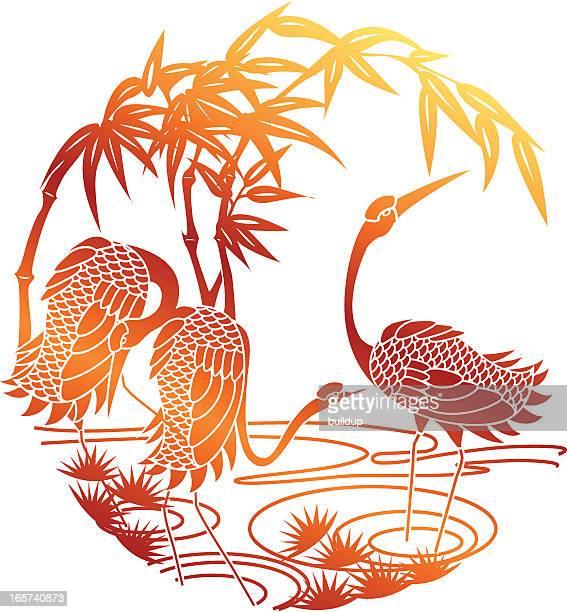 paper cutting of sunset crane - crane bird stock illustrations