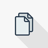 paper document, file copy thin line flat color icon. Linear vector symbol. Colorful long shadow design.