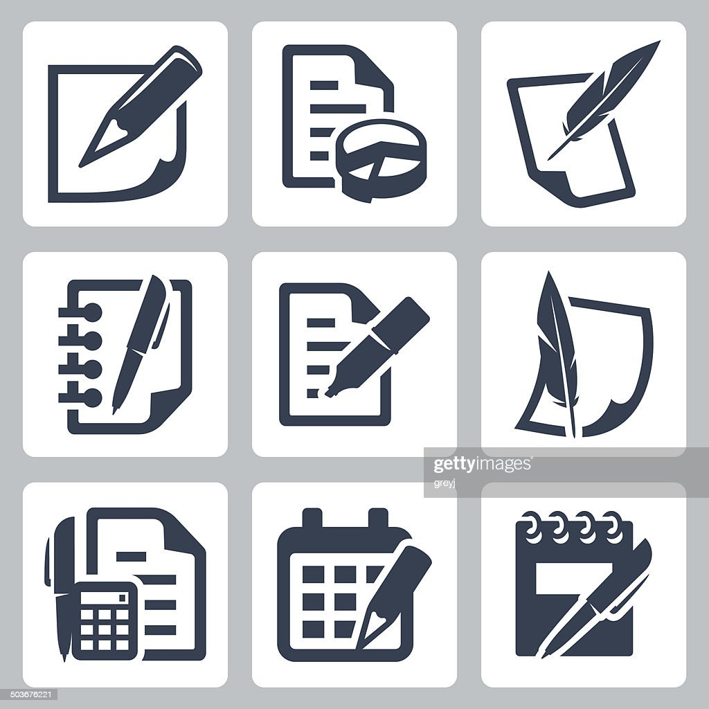 Paper document vector icons set