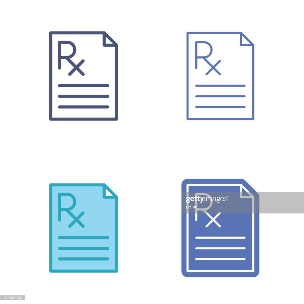 Paper document with prescription symbol medicine vector outline paper document with prescription symbol medicine vector outline icon set vector art buycottarizona