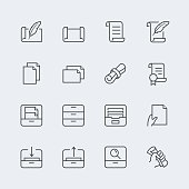 Paper, documents and archive related icon set in thin line style