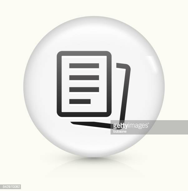 Paper Documents icon on white round vector button