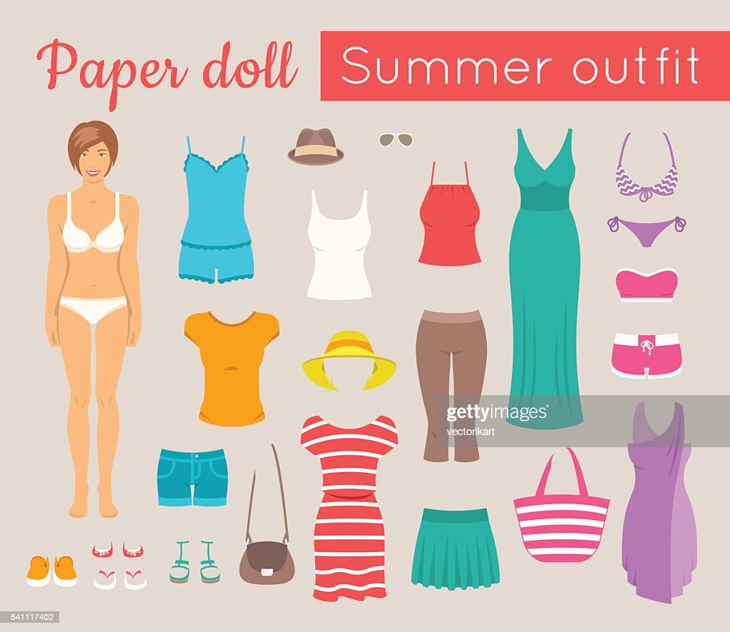 Paper doll girl with summer clothes game