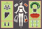 Paper doll. Halloween collection.