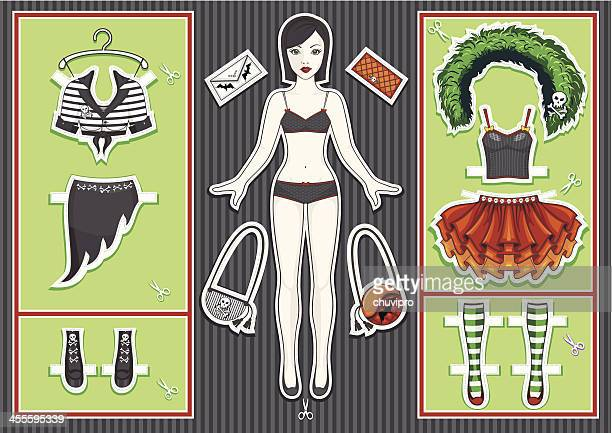 paper doll. halloween collection. - en búsqueda stock illustrations