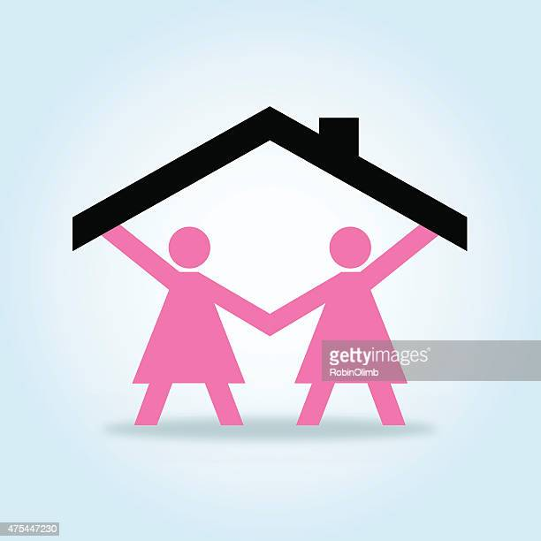 Paper Doll Lesbian Couple Holding Up Roof