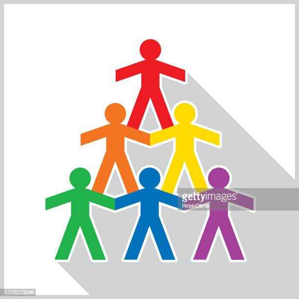 paper doll pyramid shadow icon - holding up sign stock illustrations