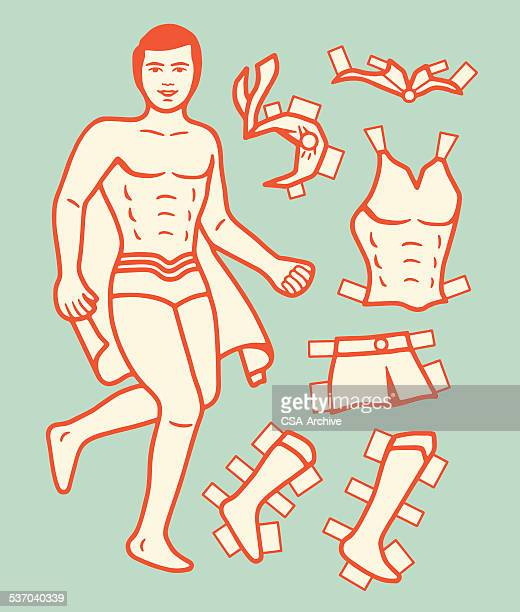 paper doll super hero - paper chain stock illustrations