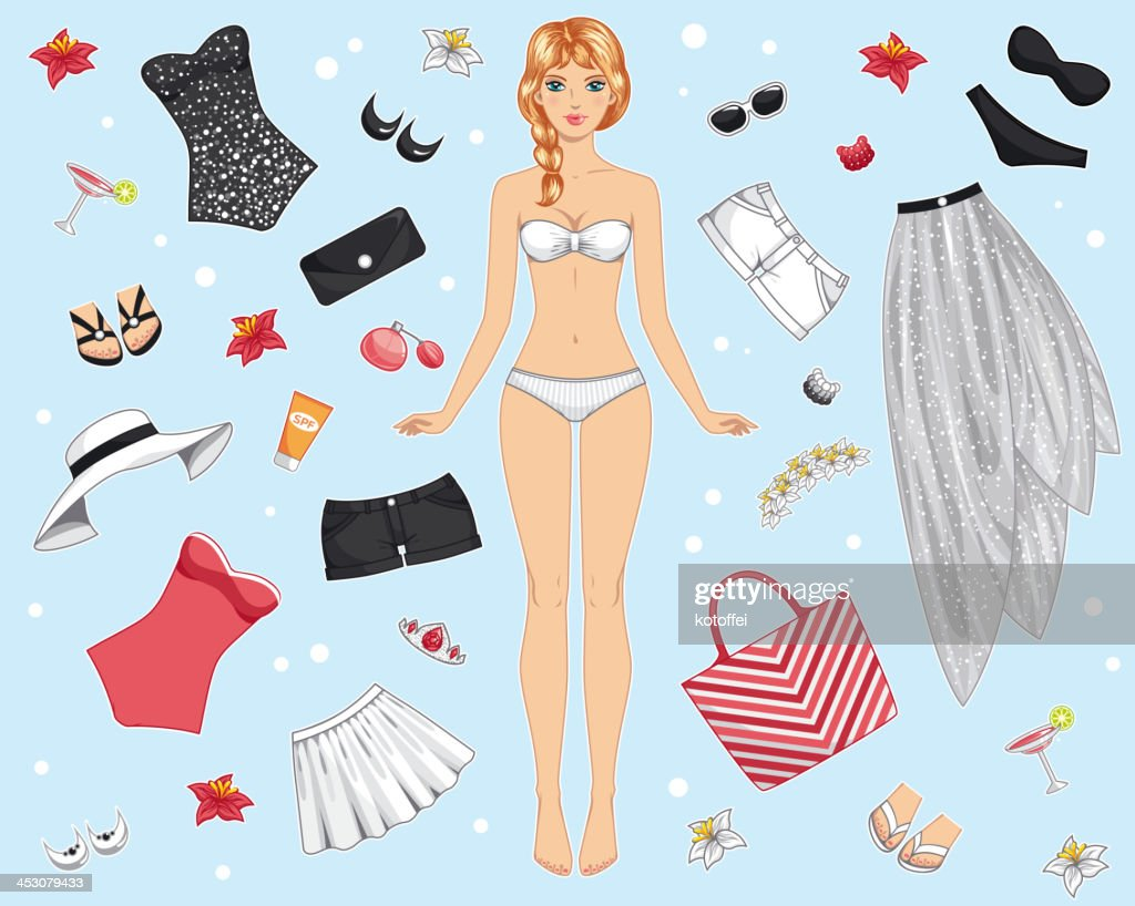 paper doll with summer clothes