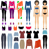 Paper dolls with a set of clothes