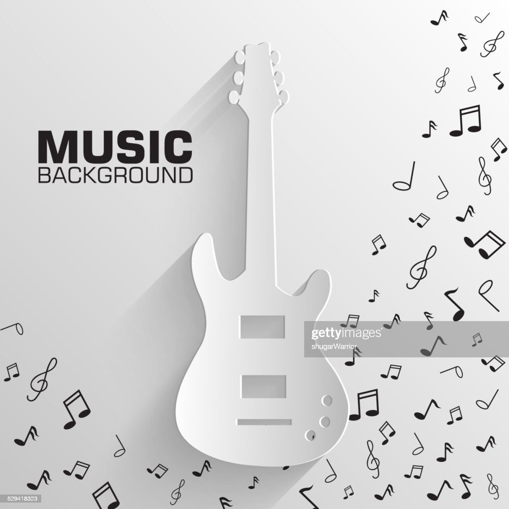 paper electro guitar vector background concept. Illustration