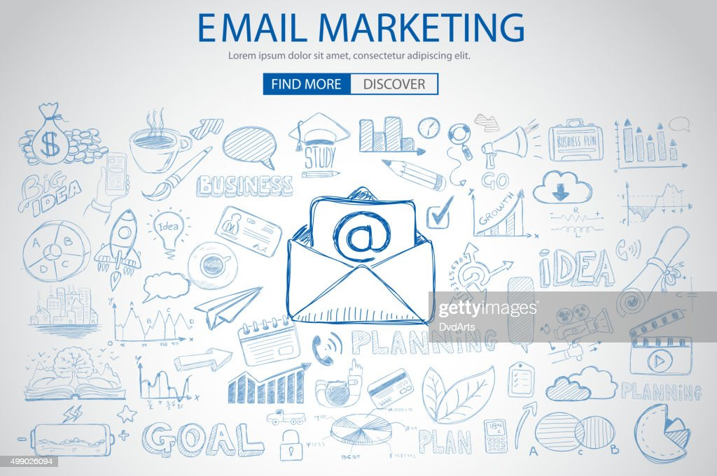Paper email Marketing with Doodle design style :sending real mails