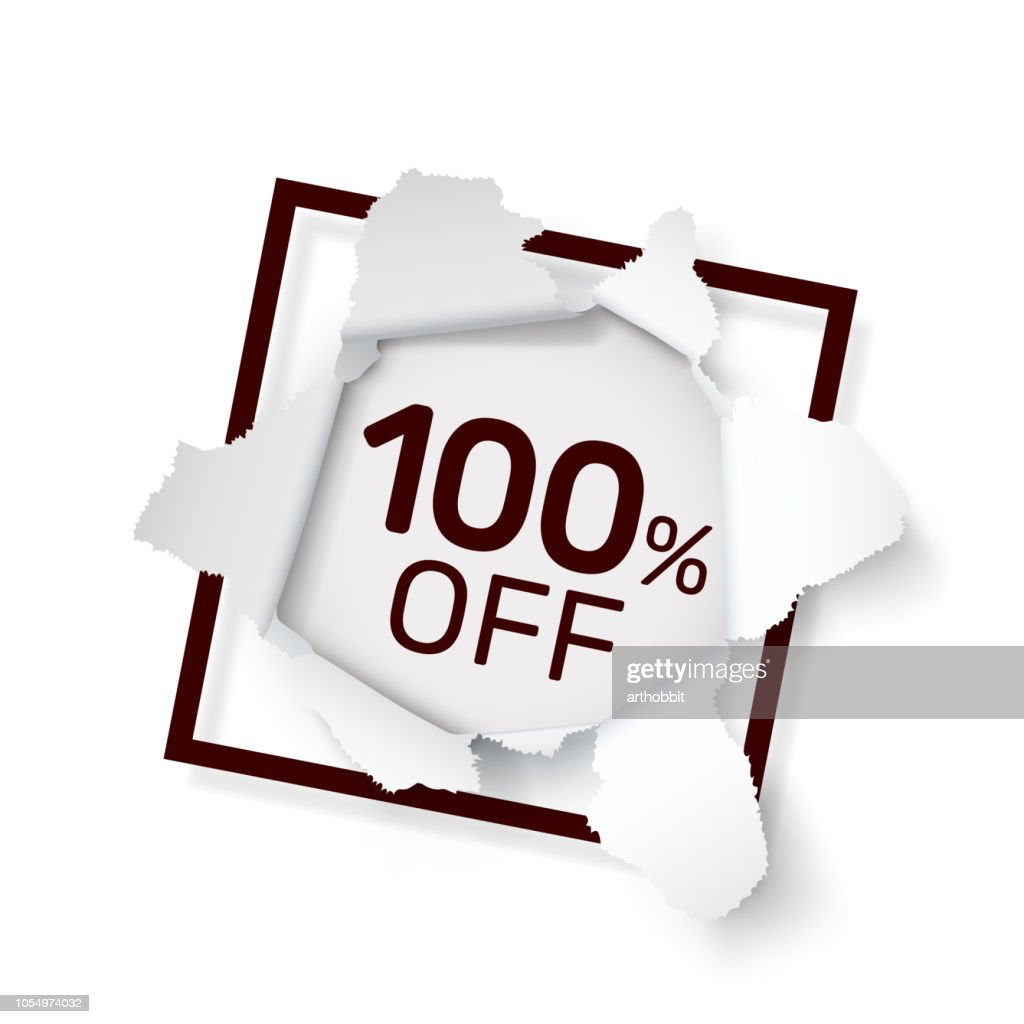 Paper explosion banner 100 off with share discount percentage. Vector illustration