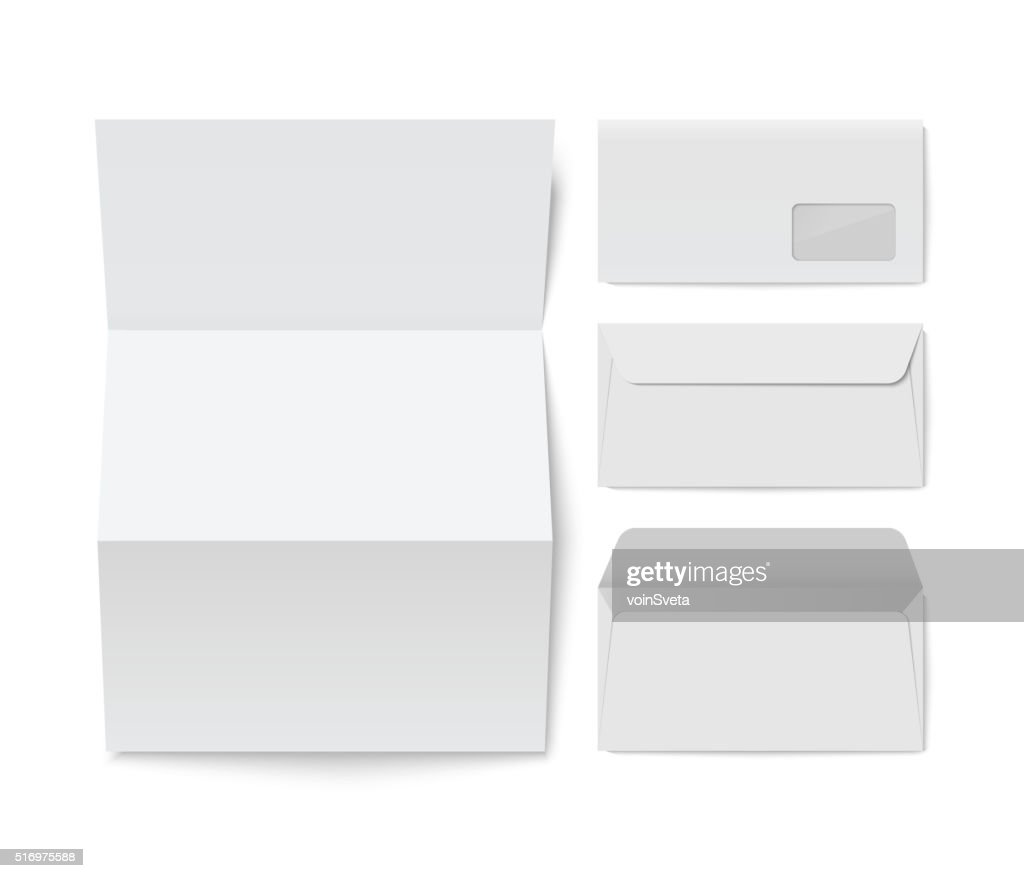 Paper folded letter and blank envelope template
