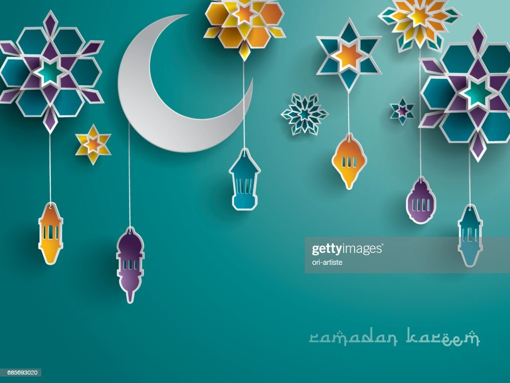 Paper graphic of Islamic decoration. Geometry art, Crescent moon and Arabic lantern.