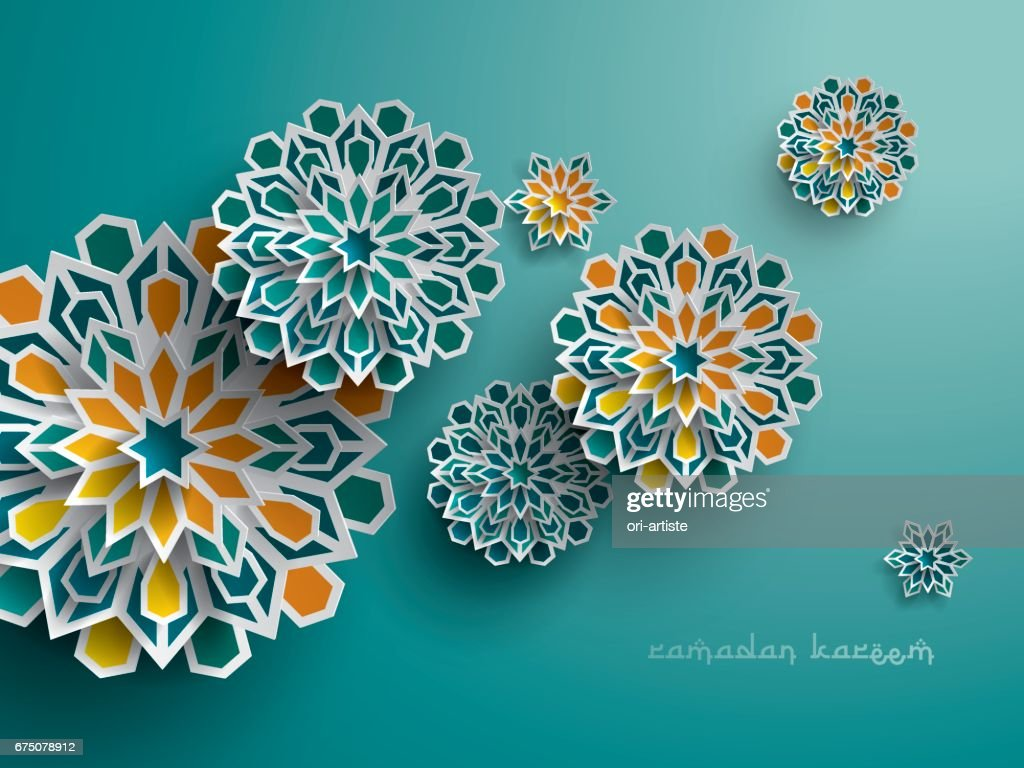 Paper graphic of islamic geometric art. Islamic decoration.