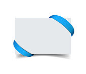 Paper greeting card with curved blue gift ribbon corners isolated
